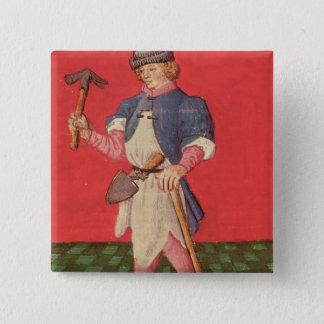 Blacksmith, from 'Le Livre des Echecs Moralises' 15 Cm Square Badge