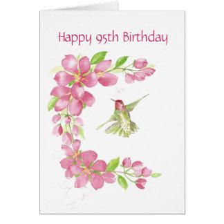 Blank 95th Birthday Cherry Blossom & Hummingbird Greeting Cards