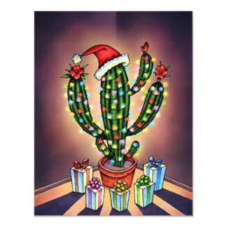 Blank Christmas Invitation Announcement Cactus SW