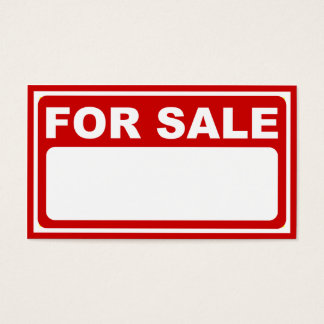 blank for sale sign business card