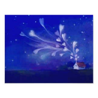 Blank Home Filled With Love Hearts Night Sky Nite 11 Cm X 14 Cm Invitation Card
