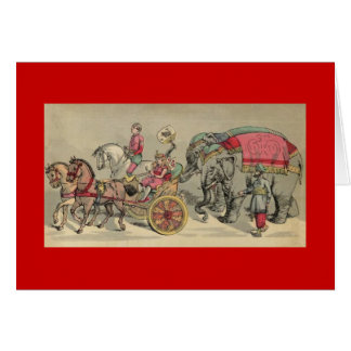Blank Note Card with Vintage Circus Illustration