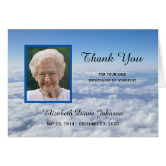 Blank Sympathy Thank You Note Card Photo in Clouds