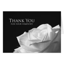 Blank Sympathy Thank You Note Card -- White Rose