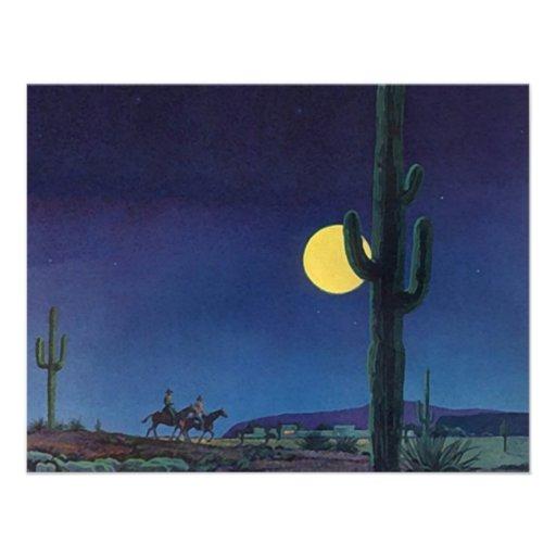 Blank West Southwest Saguaro Cactus Moonlight Ride Personalized Invitation