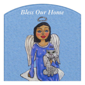Bless Home Angel on Cloud Holding angel Cat Door Sign