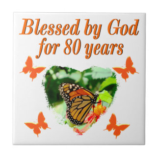 BLESSED BY GOD FOR 80 YEARS BUTTERFLY PHOTO SMALL SQUARE TILE