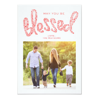 Blessed Christmas Religious Hand Letter Photo Card
