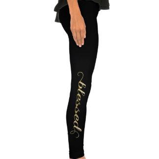 Blessed, Gold Foil-Look Inspirational Grateful Legging