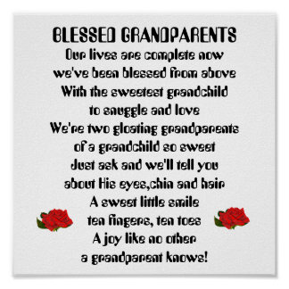 Blessed Grandparents-red roses-boy Posters