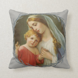 Blessed Mother holding the Baby Jesus Wreath Cushion