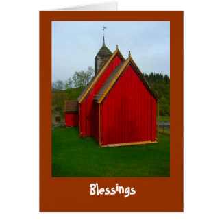 Blessings, country church in Norway Card