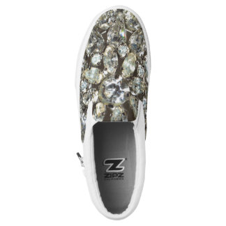 Bling Crystal Silver Diamante Pattern Slip-On Shoes