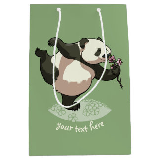 Blissful Panda Smelling Blossom Flowers With Text Medium Gift Bag