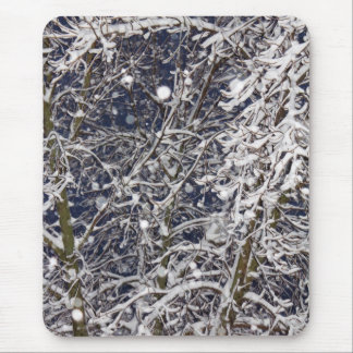 Blizzard Tree (with Snow Covered Branches) Photo Mouse Pad