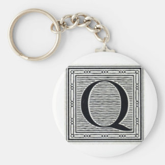 "Block Letter ""Q"" Woodcut Woodblock Inital Basic Round Button Key Ring"