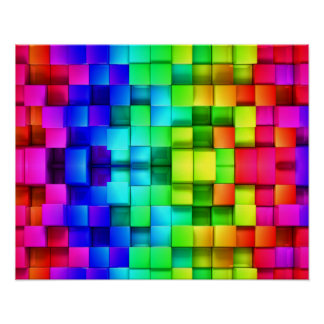 Blocks Rainbow 3d Graphics Background Poster