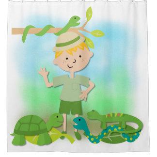 Blond Boy on Reptile Safari Hike Shower Curtain
