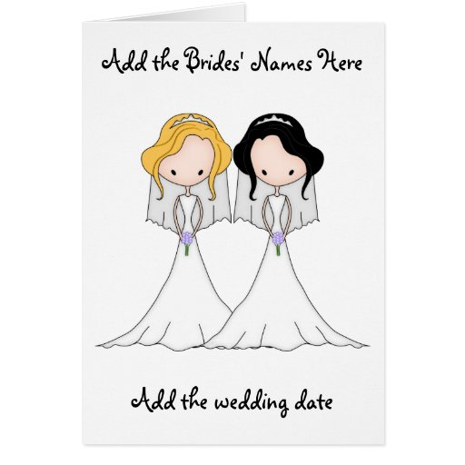Blonde and Black Haired Brides Lesbian Wedding Greeting Cards