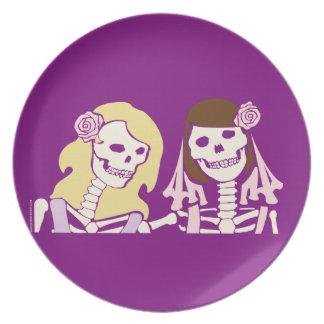 Blonde and Brunette Female Skeleton Couple Plate