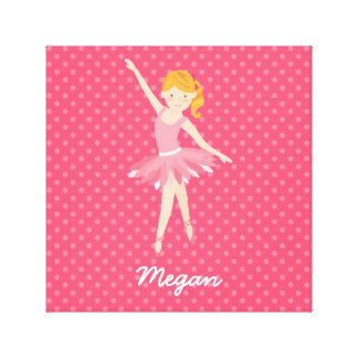 Blonde Ballerina with Pink Polka Dots Canvas Print
