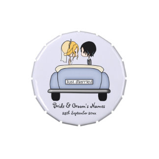 Blonde Bride & Black Haired Groom in a Wedding Car Jelly Belly Candy Tins