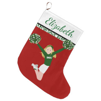 Blonde Cheerleader In Green And White Large Christmas Stocking