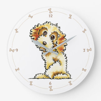 Blonde Cocker Spaniel Poodle Mix Large Clock