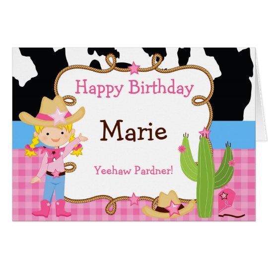 Blonde Cowgirl Western Birthday Card