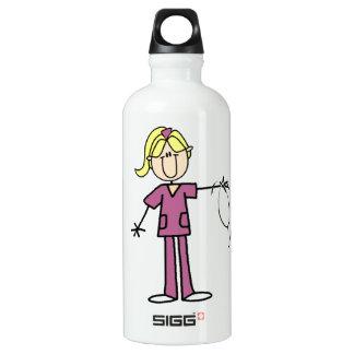 Blonde Female Stick Figure Nurse Water Bottle