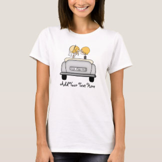 Blonde Haired Bride & Blonde Groom in Grey Car T-Shirt