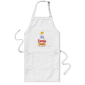 Blonde Haired Frowning Farmie Blue Pants Farmie X  Aprons