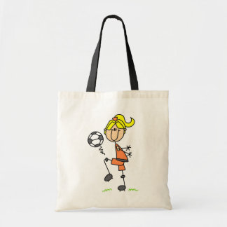 Blonde Stick Figure Soccer Player Girl Gifts Tote Bag