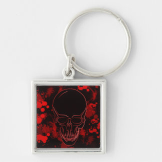 Blood Skull Silver-Colored Square Key Ring