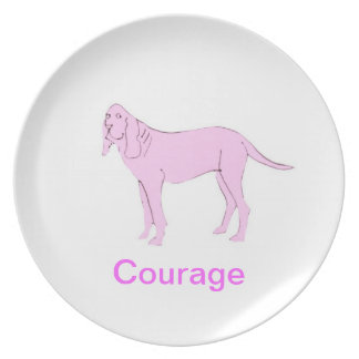 Bloodhound Courage Cancer Awareness Plate