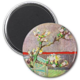 Blooming Almond Branch in a Glass 6 Cm Round Magnet