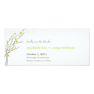 Blooming Branches Save The Date Card - Lime 10 Cm X 24 Cm Invitation Card