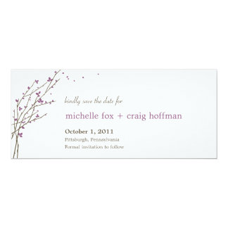 Blooming Branches Save The Date Card - Plum