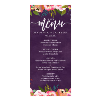 Blooming Chic Color Editable Wedding Menu