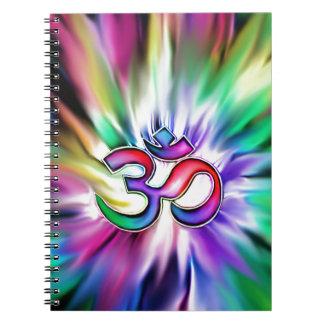 Blooming Rainbow Lotus OM Spiral Notebook