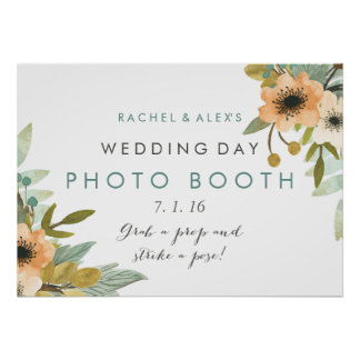 Blooming Watercolor Photo Booth Poster