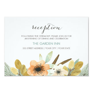 Blooming Watercolor Reception Card