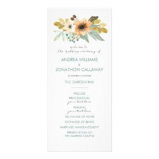 Blooming Watercolor Wedding Program Full Color Rack Card