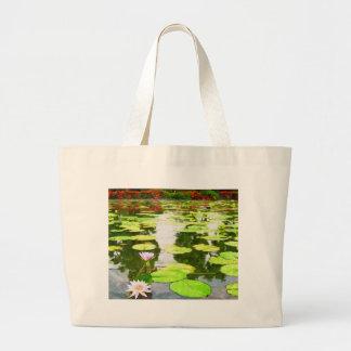 Blossom Lotus Flower In Pond Canvas Bag