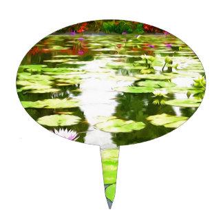 Blossom Lotus Flower In Pond Cake Pick