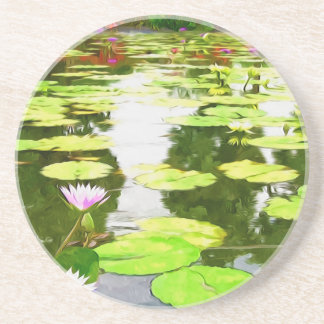 Blossom Lotus Flower In Pond Coasters
