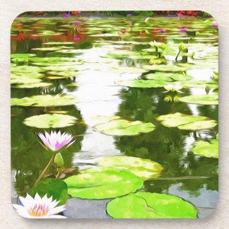 Blossom Lotus Flower In Pond Coaster