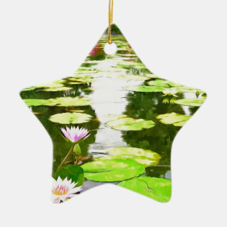 Blossom Lotus Flower In Pond Christmas Tree Ornament