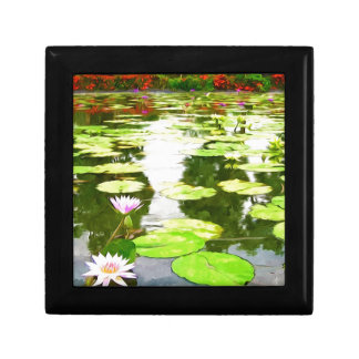 Blossom Lotus Flower In Pond Jewelry Box