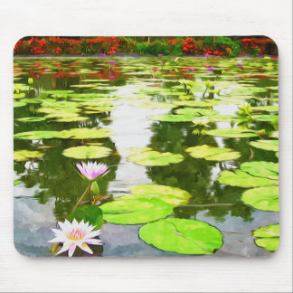 Blossom Lotus Flower In Pond Mouse Pad